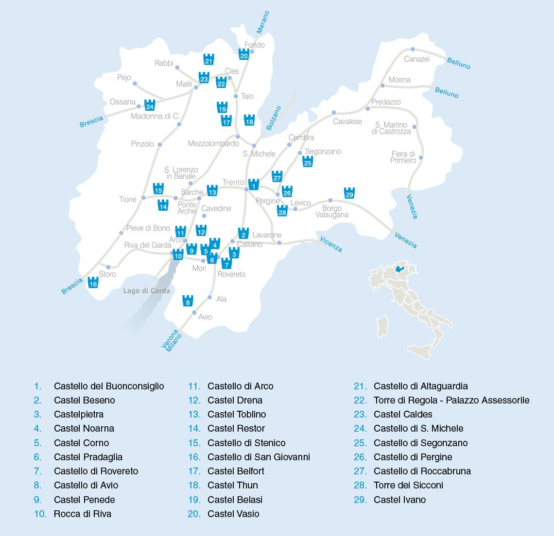 Cartina Stradale Del Trentino Alto Adige.La Rete Dei Castelli Del Trentino Trentino Cultura