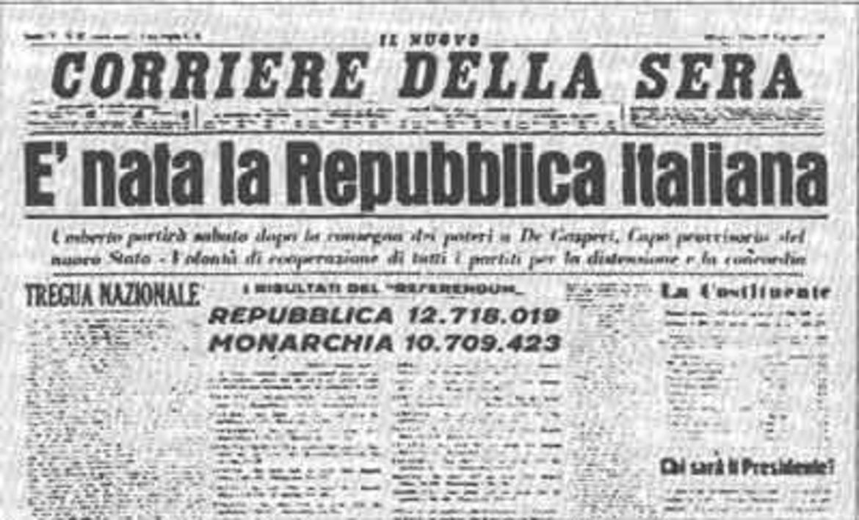 Accaddeoggi 2 giugno 1946 l italia diventa una for Repubblica italiana nascita